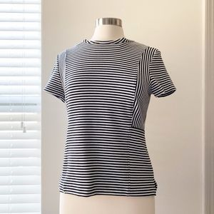 C.Wonder Black & White Striped Peplum Top Small